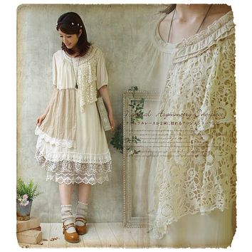 Forest Girl Style Ruffle Loose Plus Size Lace Patchwork Asymmetrical Dress Double Layer Mori Girl Retro Vantage Dress Novelty