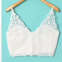 V-neck Spaghetti Strap Lace Bralet Top