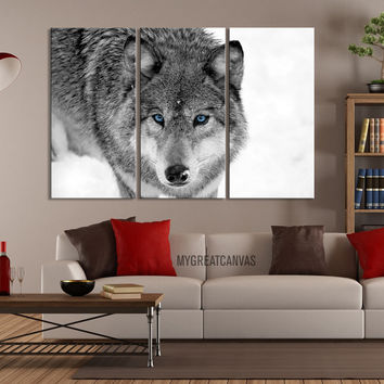 Large Wall Art 3 Panel Wildly Looking Wolf Canvas Print - Framed Animal Canvas Printing - Giclee Print - MC164