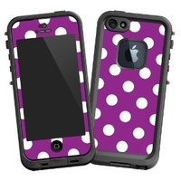 """White Polka Dot on Purple """"Protective Decal Skin"""" for LifeProof fre iPhone 5/5s Case"""