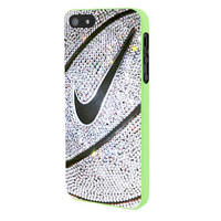 Nike Basket Ball Glitter Silver iPhone 5 Case Framed Green