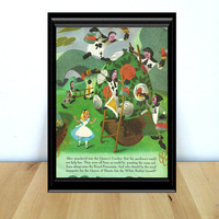 Alice in the Queen's Garden, Alice in Wonderland Themed Home Decor Print {1950s} Vintage Book Page