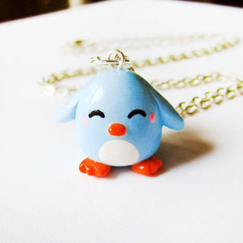 Pastel Blue Penguin Necklace Polymer Clay Charm