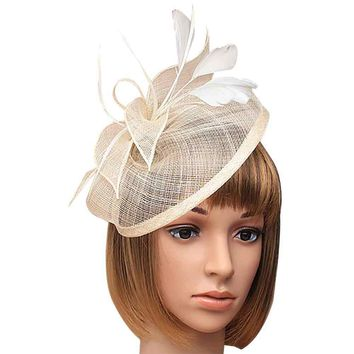 Women Retro Elegant Feather Cambric Mesh Hat Hair Clip Hairpin Party Wedding Bridal Headpiece