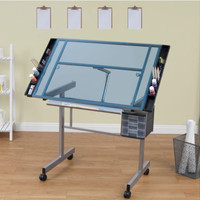 Wheeled Drafting Table With Three Slide-Out Drawers Blue Tempered Glass Top New