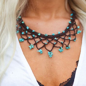 Thailand Cord Turquoise Necklace