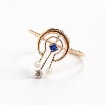 Antique Art Deco 10k Yellow Gold Simulated Sapphire, Seed Pearl, and Diamond Ring- 191