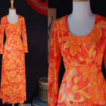 Vintage 70s Hawaiian Tangerine Sunset Maxi Dress