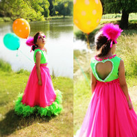 Girls Circus Dress - Lime Green Top with Pom Poms & Pink  Feather Skirt, Halloween Costume, Girls Unique Costume, Girls Birthday Oufit