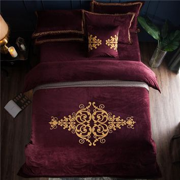 Crystal Flannel palace style Bedding set Winter Warm Fleece Towel embroidery Duvet cover set Bed Sheet Queen King size 4pcs