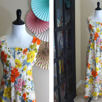 Vintage 1960's Mod Hawaiian Print Maxi Dress + SMALL
