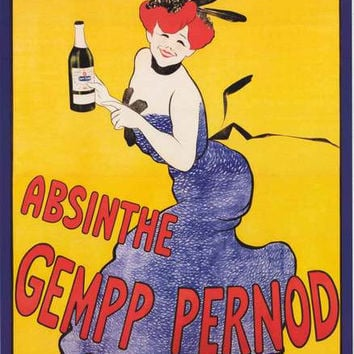 Absinthe Gempp Pernod French Ad Poster 24x36