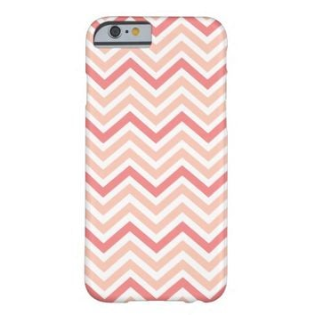 Pretty Chevron Coral and Peach Stripes Barely There iPhone 6 Case