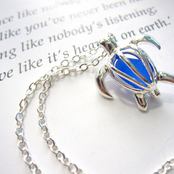 Cute Turtle locket Necklace with real cobalt by SeaglassGallery