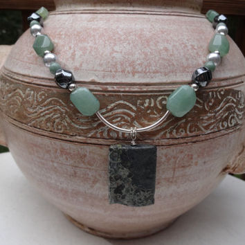 Jasper Pendant Necklace, Green Necklace, Jade Nuggets