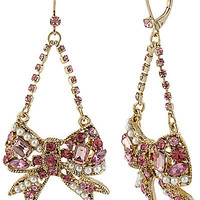 BetseyJohnson.com - BOW CRYSTAL SWAG EARRING PINK
