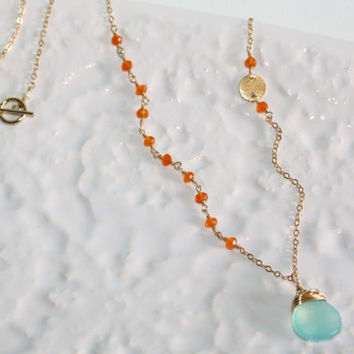 Asymmetrical Peruvian Chalcedony, Faceted AA Orange Carnelian and Textured Vermeil Link Gold Fill Necklace Kaya Jewelry
