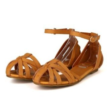 Nature Breeze Istanbul Women Leatherette Strappy Ankle Strap Flat Sandal - Tan (Size: 5.5)
