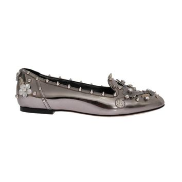 Dolce & Gabbana Silver Leather Studded Crystal Loafer