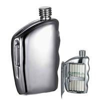 Visol Handle Stainless Steel 5.5 oz Mirrored Flask with Built-In Cigarette Case