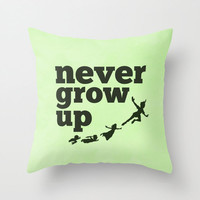 Never Grow Up Peter Pan Throw Pillow Cover Children's Room Decor Inspirational Quote Gifts For Children Birthday Gift