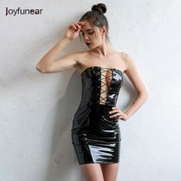 Joyfunear Womens Black Sexy Bodycon Leather Dresses Strapless Latex Club Wear Costumes Clothing PVC Mini Dress Catsuits Vestidos