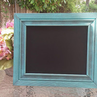 Wide Border Aqua Chalkboard - Shabby Chic - Rustic - Primitive Painted Chalkboard - New