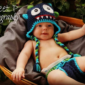 Crochet baby hat-diaper cover- Navy monster hat and cover set- Photography prop-Newborn to 12 months-Choose your colors
