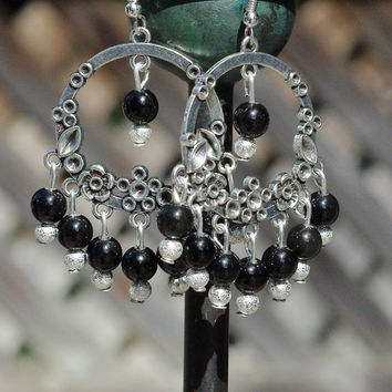 Onyx Chandelier Earrings ~ Black Stone Jewellery ~ Boho Earrings  ~ Semi Precious Stones ~ Black Onyx Stones ~ Healing Stones ~ Holiday Wear