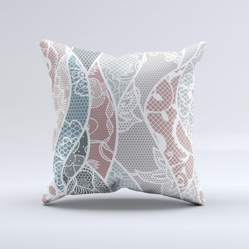 Brown and Teal Lace Design Ink-Fuzed Decorative Throw Pillow