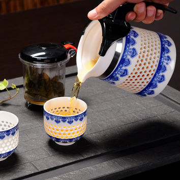 Handmade Honeycomb Ceramic Tea Pot & Teacups (or Coffee)