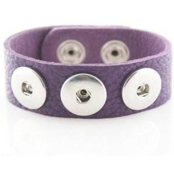 Leather Snap Charm Bracelet Purple Textured Grain Soft Small Size 22cm