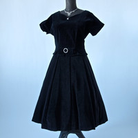 Vintage 50's Black Velvet Skirt and Top Kerrybrooke Mad Men Full Skirt High Waist 30 inches
