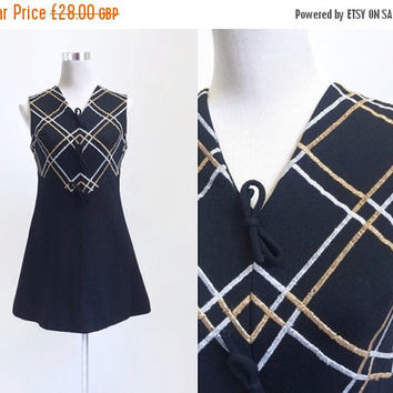 On Sale - 1960's Dress - Vintage 60's Dress - Go Go Mod - Mini Dress - Metallic On Black - Little Black Dress - Small