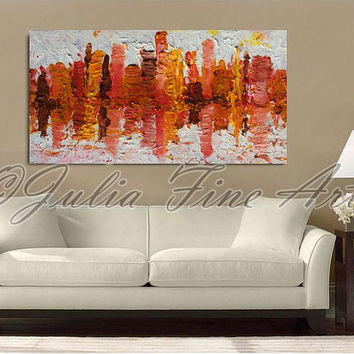 "48""Large Abstract Art, Skyline Painting, Print, Cityscape, Landscape, Skyscrapers, Urban, Autumn, Winter, White, Brown, Orange, Wall Decor"