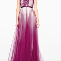 Magenta Prarie Embroidered Gown by Catherine Deane
