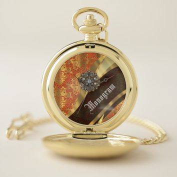 Orange and gold vintage damask pocket watch
