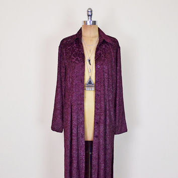 Vintage 90s Burgundy Sheer Burnout Velvet Jacket Velvet Burnout Jacket Duster Jacket Velvet Dress Burnout Dress Maxi Dress Grunge Gypsy S M