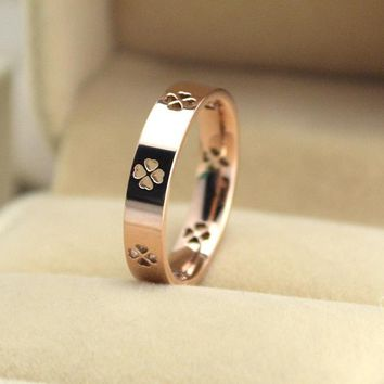 Rose Gold Clover Titanium Joint Ring    171206