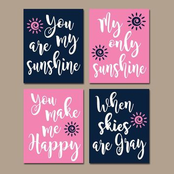 You Are My SUNSHINE Wall Art, Canvas or Prints, NAVY PINK Nursery, Nursery Rhyme Quote Song, Baby Crib Decor, Set of 4, Gift for Girl