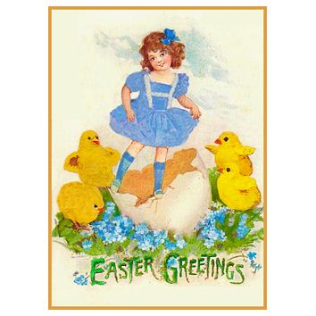 Vintage Easter Young Girl with Baby Chicks Counted Cross Stitch Pattern