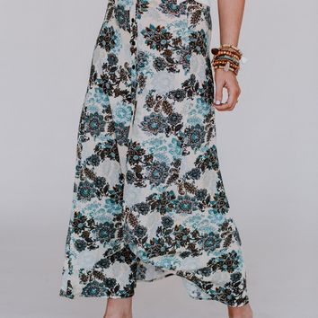 No Limit Floral Maxi Skirt - Ivory Teal