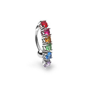 Bling Jewelry Gay Pride Rainbow CZ Top Drop Belly Button Ring Stainless Steel