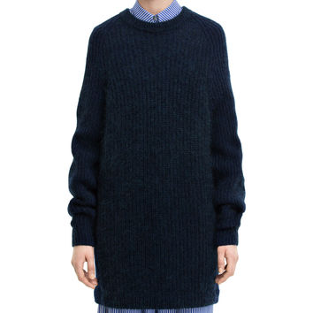 Acne Studios Davina Mix Navy Crew Neck Sweater
