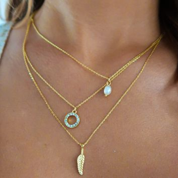 Beautiful World Necklace: Gold