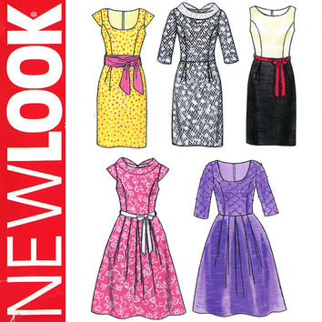 Retro Evening Dress Pattern Bust 31 to 40 Uncut New Look 6824 Sheath Dress, Full Skirt Dress, Princess Seam Dress, Womens Sewing Patterns