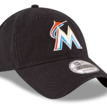 MLB Miami Marlins New Era Black Core Classic OTC 9TWENTY Adjustable Hat