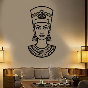 Vinyl Wall Decal Nefertiti Queen Of Ancient Egypt Beautiful Egyptian Woman Stickers Unique Gift (1466ig)