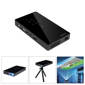 P8I Android4.4 1GB/8GB RK3128 Quad Core WiFi Bluetooth DLP Projector LED Pocket Pico Mini Video Projector Support 1080P HDMI with Movie Business Travel Outdoor Home Theater Support APP Eshare/Android or Airplay/IOS