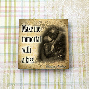 "Love Quote Christopher Marlowe Magnet for Refrigerator Fridge Cubicle and Dorm Decor 2"" Square Ceramic Tile"